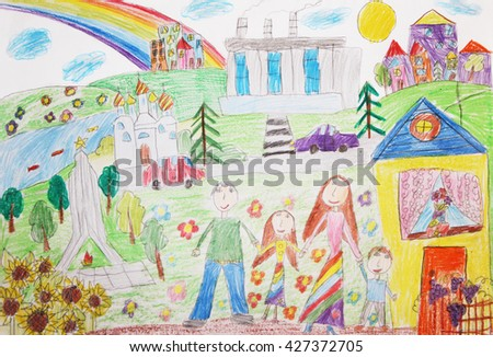 Child's drawing of family. Happy family with two children - stock photo