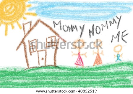 Child's drawing of family unit. Two mothers and one child. - stock photo