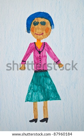Child's drawing of girl - stock photo