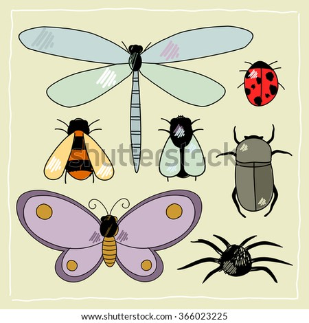 Child's drawing of insects (raster version) - stock photo