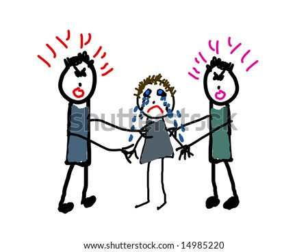Child's drawing of parents fighting - stock photo