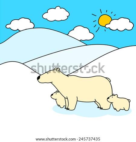 Child's drawing of polar bears family (raster version) - stock photo
