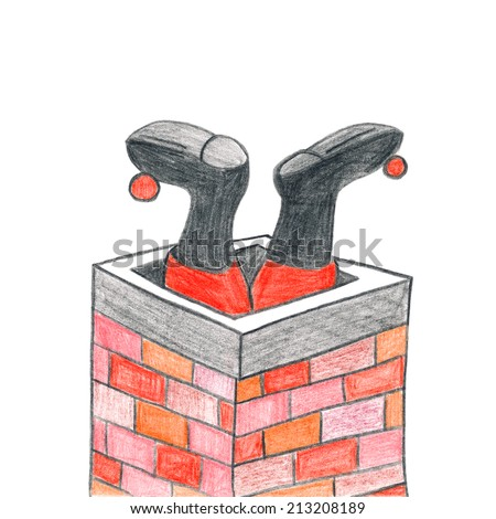 Child's drawing of Santa Claus crawling in chimney on Christmas night. - stock photo