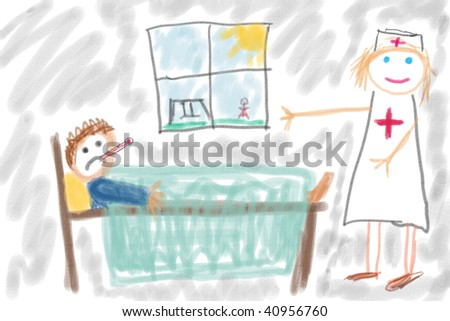 Child's drawing of sick child in hospital. Simple drawing of illness concept.