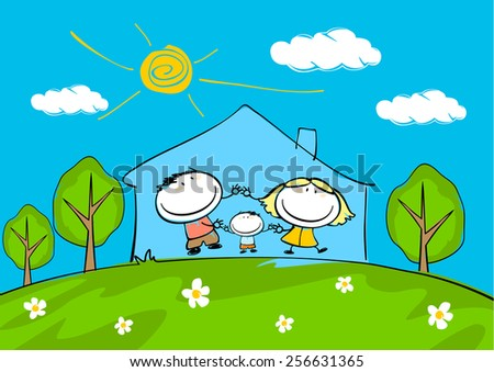 Child's drawing of the happy family at home (raster version) - stock photo