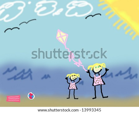 Child's drawing of two girls playing at the beach - stock photo
