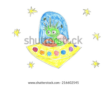 Child's drawing of UFO in space. Happy alien travels in his spaceship. - stock photo