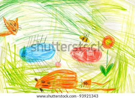 child's drawing on paper. isolated - stock photo