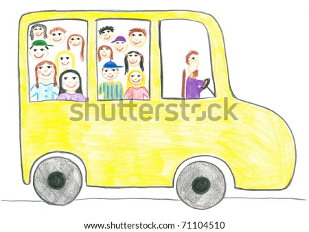 Child's drawing school bus. - stock photo