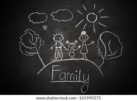 child's drawing with chalk on a school blackboard happy family - stock photo