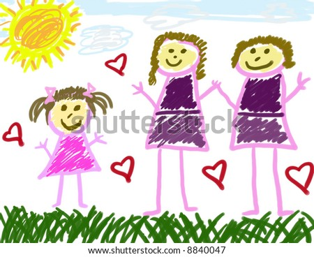 Child's Drawing with 2 Moms - stock photo