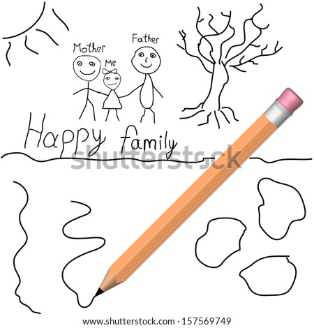 Child's drawing with pencil.  - stock photo
