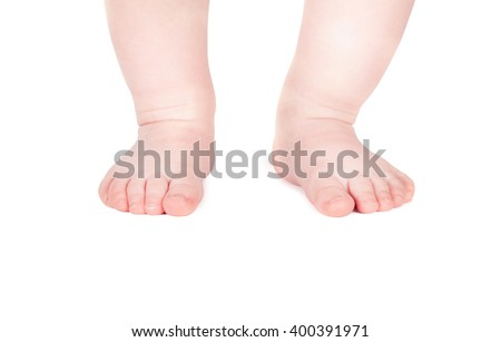 Child's feet isolated on white background