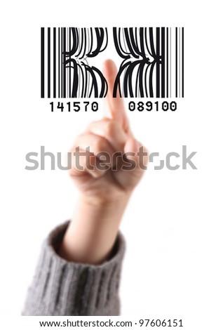 child's finger press the code bar - stock photo