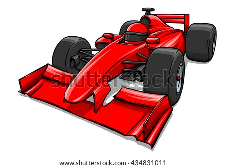 child's funny fast cartoon formula race car illustration art - stock photo