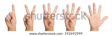 Child's hand gesturing one to five isolated on white background  - stock photo