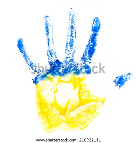 Child's hand imprint in colors of Ukraine flag isolated on white