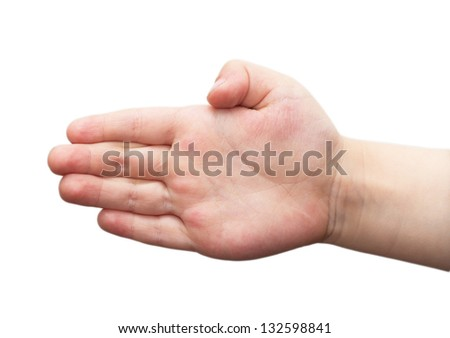 child's hand isolated on white background - stock photo