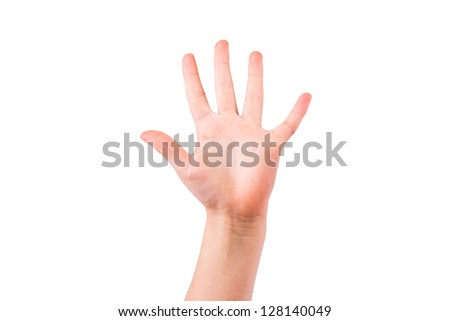 Child's hand showing number five, palm isolated on white