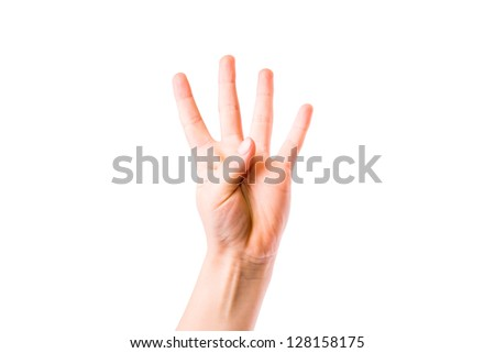 Child's hand showing number four isolated on white