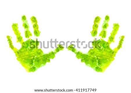Child's handprint with green textured paint isolated on white background. Image shows caring for the environment, organic and eco-friendly food, children's creativity, etc.