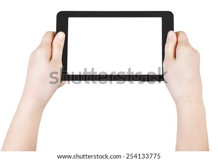 child's hands hold tablet pc with cut out screen isolated on white background - stock photo