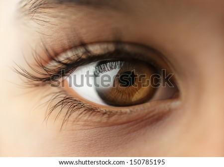 Child's human Eye - Macro - close up - stock photo