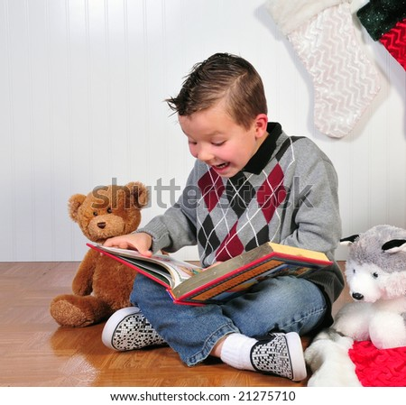 child's imagination as her reads a story to his friends