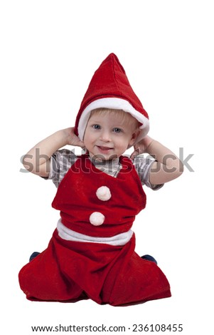 Child's new year's eve outfit. Hat Santa.