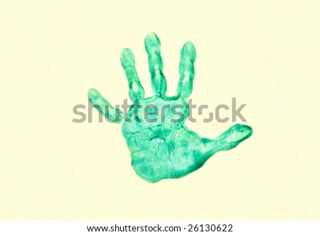 Child's painted hand print on paper