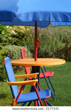 Child's parasol and chair set