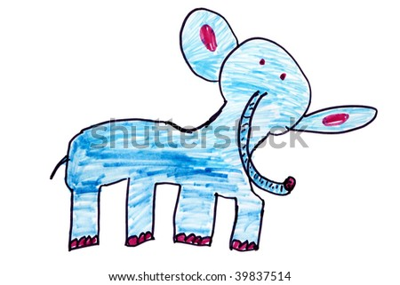 Child`s picture. Blue elephant - stock photo