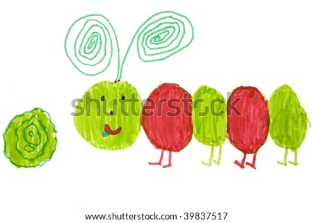 Child`s picture. caterpillar and cabbage-head - stock photo