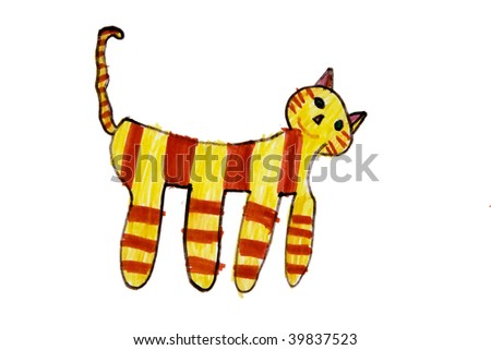 Child`s picture. Yellow cat - stock photo