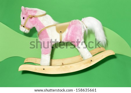 Child's, Pink Toy Rocking Horse - stock photo