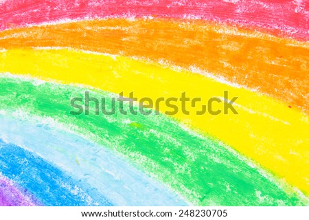 Child's rainbow crayon drawing - stock photo