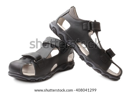 Child's shoes on white background - stock photo