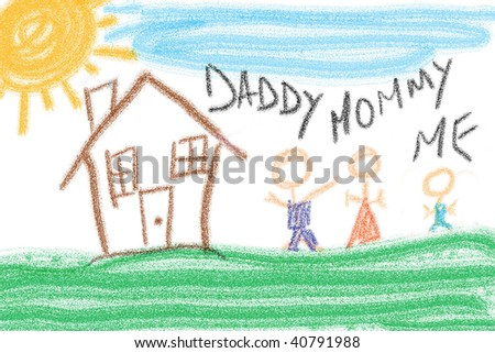 Child's simple crayon drawing of family and house. - stock photo