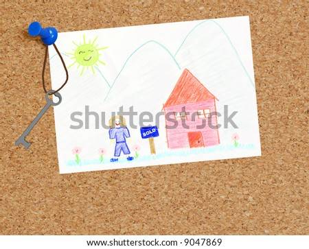 child's sold house drawing with keys to home - stock photo