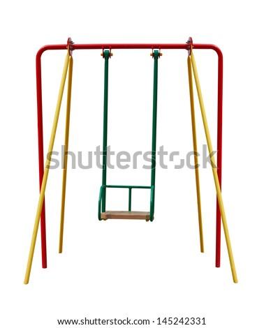 child's swing isolated on white - stock photo