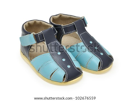 child sandals isolated on white background - stock photo