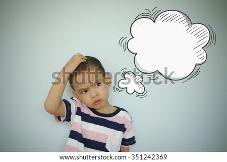 Child scratching head with a thought bubble on blue blackboard , confusion concept , concept inspiration and solution - stock photo