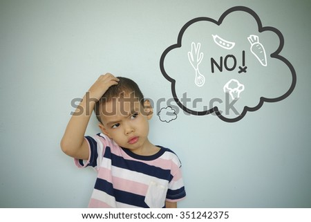 Child scratching head with NO text and vegetable icon thought bubble on blue blackboard , confusion concept , concept inspiration and solution - stock photo