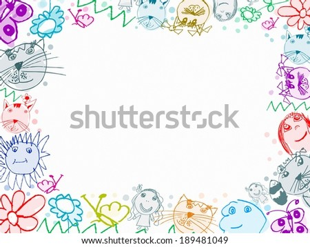 child scribbles drawings frame background isolated on white - stock photo