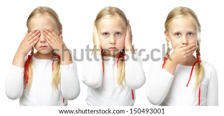 Child - See no evil, Hear no evil, Speak no evil - stock photo