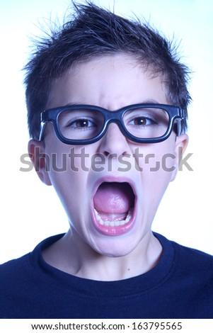 child shouting - blue toned - stock photo