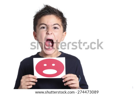 child shouting with smile icon - stock photo