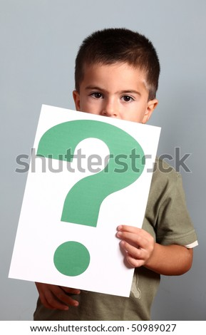 child shows question mark - stock photo