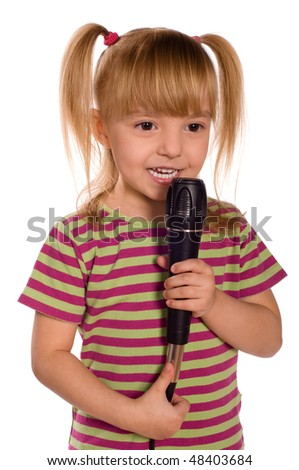 Child singing with a microphone. Funny little girl isolated on white background. Beautiful caucasian model. - stock photo