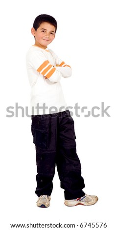 child smiling and standing - isolated over a white background - stock photo